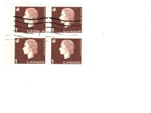 Canada, Used Block of Four Postage Stamps, Elizabeth II 1 Cent, Scott #401