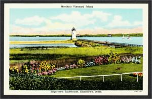 Edgartown MA Lighthouse on Martha's Vineyard Island 1950s Linen Postcard