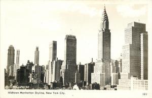 New York City~Midtown Skyline~Chrysler Bldg~Radio City~1940s Real Photo~RPPC
