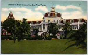 Key West, Florida Postcard Convent of Mary Immaculate Building Linen 1940s