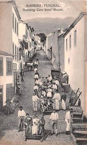 Spain Old Vintage Antique Post Card Running Cars from Mount Madeira Funchal U...