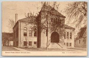 Grinnell Iowa~Grand Stairway Under Big Arch~Stewart Public Library~1911 Sepia PC