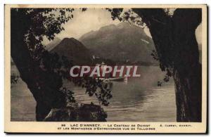 Old Postcard Lake D & # 39Annecy Chateau De Duingt and mountains d & # 39Entr...
