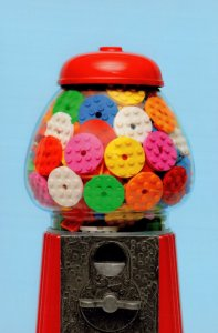 American Bubblegum Sweets Vending Machine Childrens Toy Lego Postcard