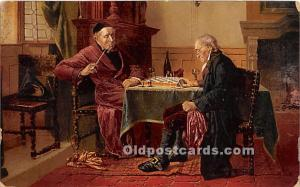 Old Vintage Chess / Checkers Postcard Post Card Checkmate by CM Webb 1908