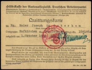 3rd Reich Germany 1934 Membership Revenue Card NSDAP Hilfskasse 77193