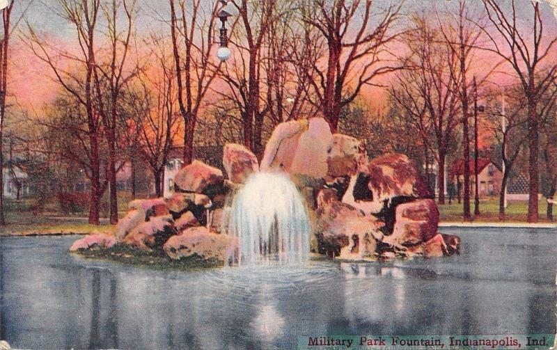 Indianapolis Indiana~Military Park~Electric Light Hangs Over Fountain~1908 PC