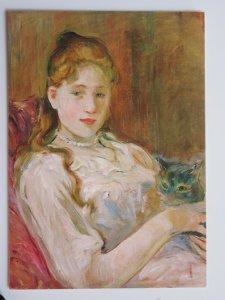 La Jeunne Fille au Chat by Berthe Morisot Vintage Chrome Postcard