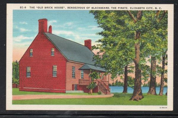 North Carolina colour Old Brick House Blackbeard Elizabeth City, N.C unused