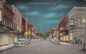 Pennsylvania Greenville Main Street At Night 1945