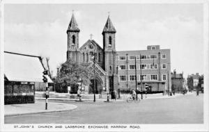 LONDON ENGLAND~ST JOHN'S CHURCH & LADBROKE EXCHANGE HARROW ROAD PHOTO POSTCARD