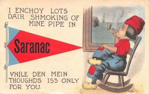 Saranac MI Enchoy Lots Dair: Shmoking of Mine Pipe~My Thoughds Are Of You c1915