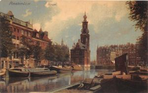 Amsterdam Holland~Singel~Boats Along Canal~Amstel Beer Sign~c1910 Pc