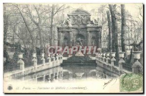 Old Postcard Paris Fountain Medicis Luxembourg