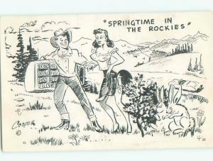 Pre-1980 Risque Comic western SEXY GIRL WITH COWBOY IN ROCKY MOUNTAINS AB7040