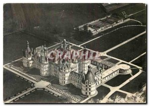 Modern Postcard Chambord Loir et Cher Chateau in North West Together Aerial view