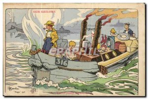 Our Sailors-Fantasy-Humor-Bateau Beach party steam boat -Carte Old Post