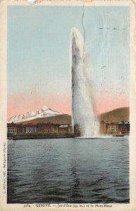 Lot 63 geneve geneva switzerland jet d eau  et le mont blanc