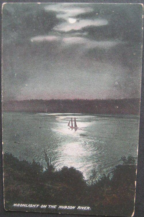 Moonlight On The Hudson River (NY) Divided Back Unused American News Company D53