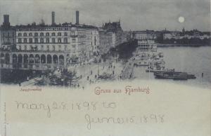 HAMBURG, Germany, 1898; Partial Scene, Jungfernstieg