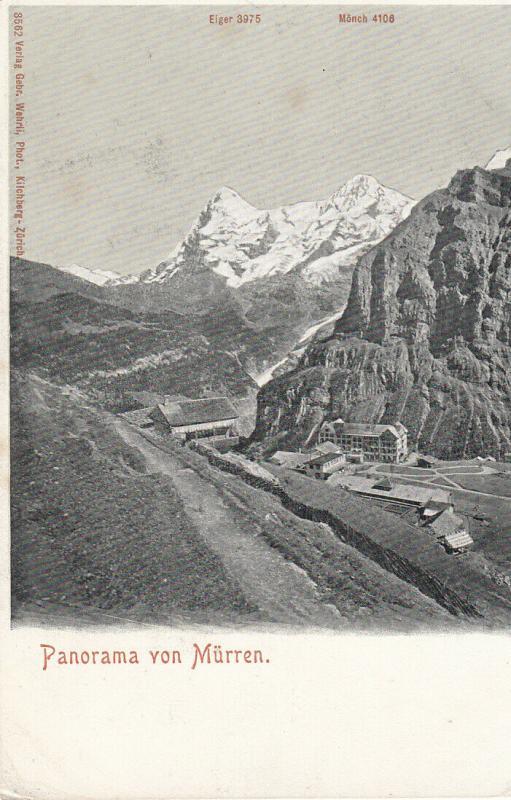 Switzerland Murren panorama early alpine landscape mountain peaks early card