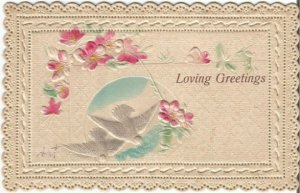 Delicate Lacy Edge White Doves Pastel Pink Cherry Blossoms on quilted pattern