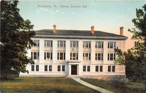 Middlebury Vermont~Warner Science Hall~Person in Window~c1910 Postcard
