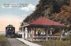 Hamlin Lake Michigan Sauble Inn Dummy Landing Train Station Postcard AA20119