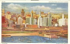 Skyline from Chicago Harbor, Illinois, 1947 used Postcard