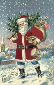 Silk Christmas Santa Claus Postcard Post Card