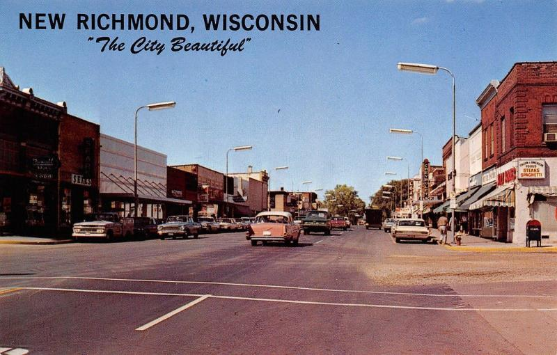 New Richmond WI~Mail Drop Box Under Spaghetti Sign~Chevy-Buick Dealer~1950-60s