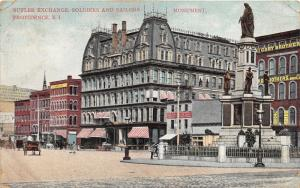 Providence Rhode Island~Butler Exchange Soldiers & Sailors Monument~Street~1909