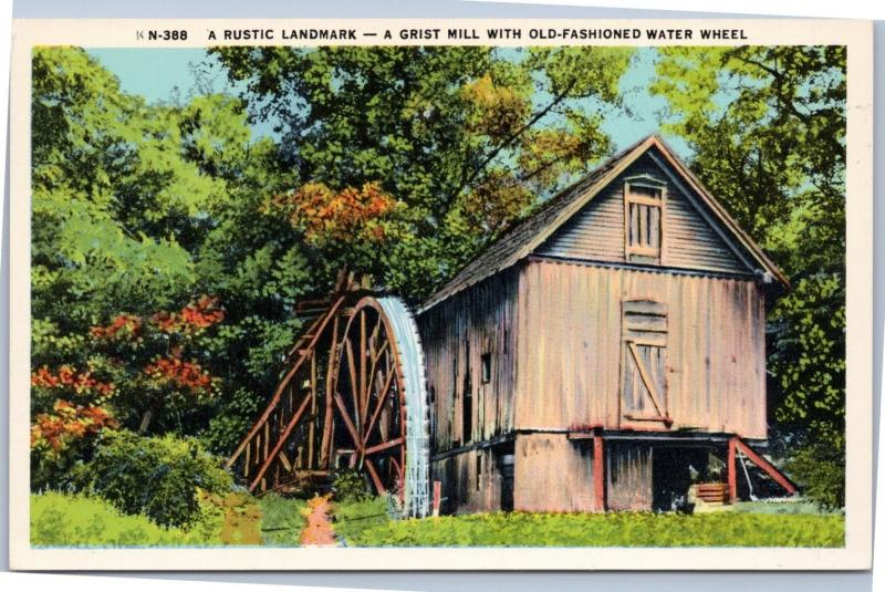 A Rustic Landmark Grist Mill with Old-Fashioned Water Wheel in North Carolina