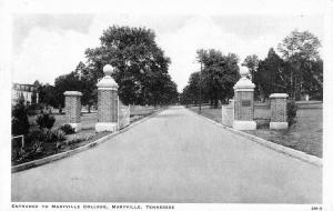 Maryville Tennessee College Entrance Vintage Postcard JD933885