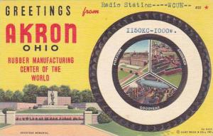 Ohio Akron Greetings From Firestone Goodrich & Goodyear 1957