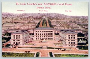 Duluth MN~St Louis County New $1.25 Million Court House~Art Conception~1912 PC