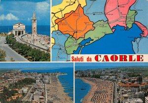 Italy Saluti da Caorle Beach Promenade Tower Church Postcard