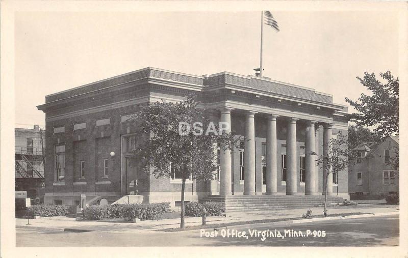 C18/ Virginia Minnesota Mn Photo RPPC Postcard 1935 Post Office Building