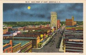 P1854 vintage postcard main st at night greenville south carolina