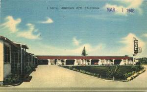 L Motel Mountain View 1948 Santa Clara California Postcard MWM linen 3739