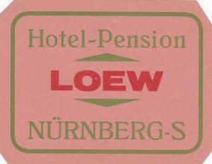 Germany Nuernberg Hotel Pension Loew Vintage Luggage Label sk2978