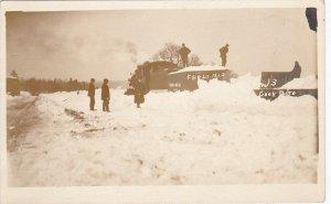 RP, BANGOR , Maine, 1920 ; RAILROAD Snow Scene, Train
