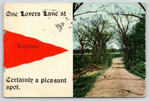 Certainly a Pleasant Spot in Keystone Iowa~Lovers Lane~Dirt Road~1919 Pennant