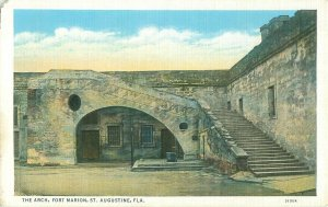 Fort Marion Street, the Arch, St Augustine Florida White Border Postcard