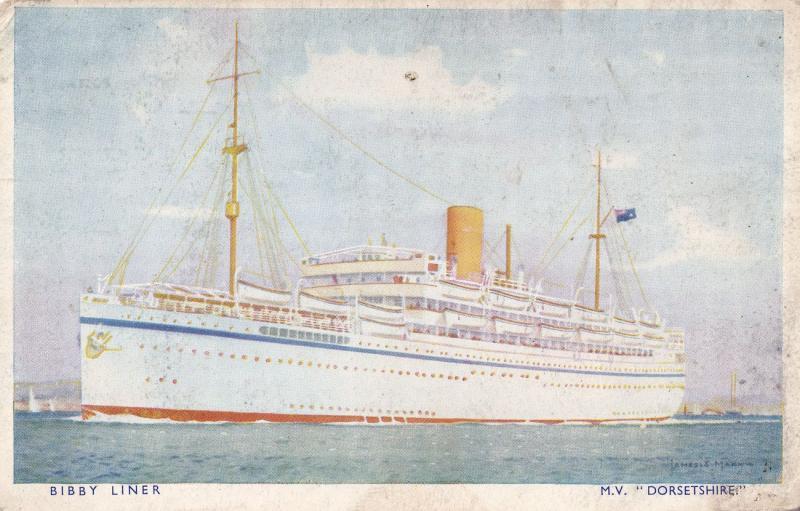 MV Dorsetshire Old Dorset Ship Bibby Line Postcard