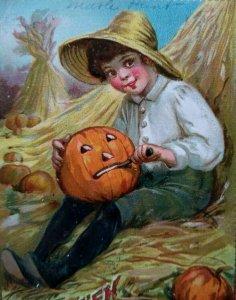 Tucks Halloween Postcard Vintage 1911 Embossed Boy Carving JOL Series 174 Orig
