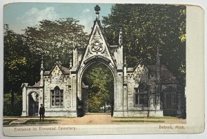 Old Divided Back Era Postcard Entrance To Elmwood Cemetery Detroit, Michigan