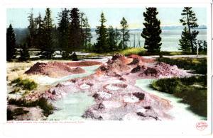 YELLOWSTONE, MUD GEYSER, YELLOWSTONE LAKE, DIVIDED BACK