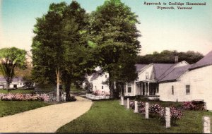Vermont Plymouth Approach To Coolidge Homestead Handcolored Albertype