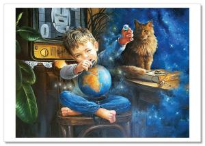 Little Boy with Globe Space Cosmos and Red Cat New Russia Modern Postcard